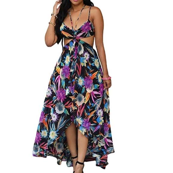74eaa93c181d C.C. Boutique Dresses | 1 Left Nwt Tropical Cut Out High Low Maxi ...
